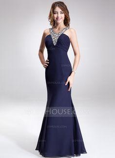 Evening Dresses - $136.99 - Trumpet/Mermaid V-neck Floor-Length Chiffon Evening Dress With Ruffle Beading (017016868) http://jjshouse.com/Trumpet-Mermaid-V-Neck-Floor-Length-Chiffon-Evening-Dress-With-Ruffle-Beading-017016868-g16868