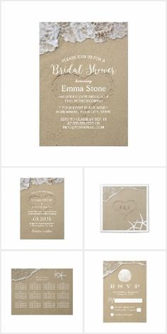 Heart in the Sand Beach Wedding Invitations