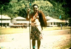 Hige Talking Chief Pele on the malae in Fogatogo. Picture by Lt. Cmdr. Dr. James Harris, USN, 1948