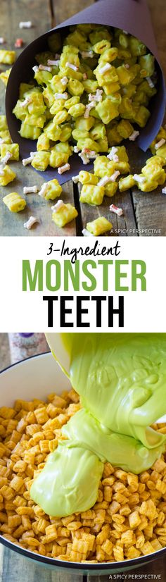 Fun and easy Monster Teeth Recipes made with cereal, candy melts, and bone sprinkles. This Halloween treat is a great edible gift Halloween Goodies, Halloween Desserts, Halloween Food For Party, Halloween Treats, Diy Halloween, Halloween Recipe, Halloween Costumes, Haunted Halloween, Halloween Table
