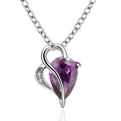 Purple Hearts Drop Necklace