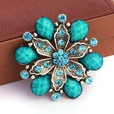 Amazon.com: Buyinhouse New Fashion Ladies Girls Antique Brass Plated Flashing Red Rhinestones Crystals Pearls Flower Petals Leaves Brooches Pin Clips All-match Clothing Accessories Suitable for Any Occasions: Jewelry