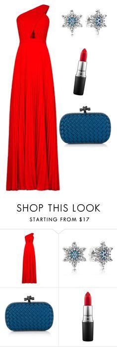 Red Dress by polyanna-kb on Polyvore featuring BCBGMAXAZRIA, Bottega Veneta, Pandora, MAC Cosmetics, women's clothing, women's fashion, women, female, woman and misses