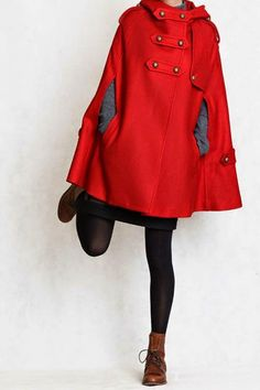 Wool Cape Coat Jacket for Women Hooded Winter Coat - Red -Dress - Cusom Made Looks Pinterest, Hooded Winter Coat, Winter Stil, Winter Cape, Wool Cape, Trench Coats, Red Coats, Mode Style, Autumn Winter Fashion