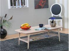 Aarhus sofabord 70x130 cm massiv eg hvid olieret.