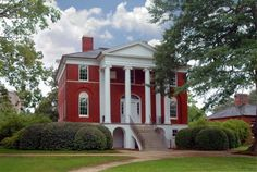 Robert Mills House and Gardens in Columbia, SC.  Front View of House.