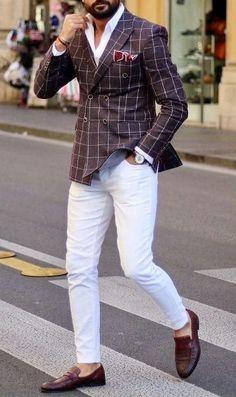 Wearing Stylish Mens Fashion Jackets - Top Fashion For Men Stylish Mens Fashion, Mens Fashion Suits, Mens Suits, Black Men In Suits, Stylish Man, Blazer Outfits Men, Men's Outfits, Casual Outfits, White Pants Outfit Mens
