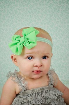 Light Green Chiffon hair bow Headband Shabby Chic vintage fabric know bow baby headband by BabyBloomzBoutique on Etsy https://www.etsy.com/listing/183852703/light-green-chiffon-hair-bow-headband