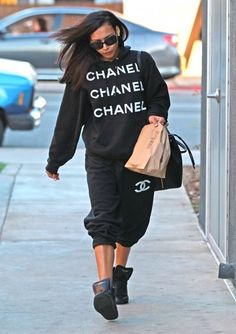 'Glee' actress Naya Rivera rocking her Chanel hoodie and sweatpants as she picks up some to-go food from Chipotle in West Hollywood, Califor...