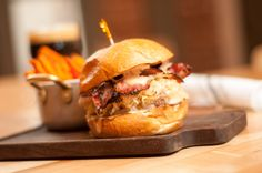 The Depot Burger  |  House ground burger patty topped with house sauerkraut, house pastrami, swiss cheese and Russian dressing