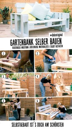Couch Chillig selber bauen - Palettenmöbel Chic DIY pallet couch with sloping backrest for relax Diy Furniture Couch, Pallet Garden Furniture, Pallets Garden, Diy Pallet Couch, Diy Couch, Pallet Furniture Instructions, Palette Couch, Couch Design, Diy Patio