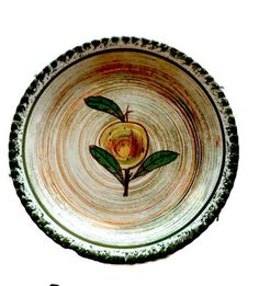 Vintage 1930s Blue Ridge Pottery Plate, Collectible, Hand Painted, Fruit Motif, Yellow Orange Green, Southern Potteries, VisionsOfOlde by VisionsOfOlde on Etsy