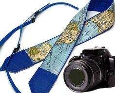 Blue World Map Camera Strap. DSLR / SLR Camera Strap. For Sony, canon, nikon…