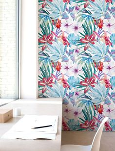 Aquarelle papier peint Floral fond d'écran amovible par Jumanjii