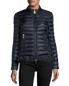MONCLER Diantha Laced-Down Peplum Jacket, Blue. #moncler #cloth #