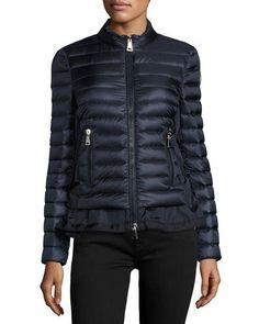 MONCLER Diantha Laced-Down Peplum Jacket, Blue. #moncler #cloth #