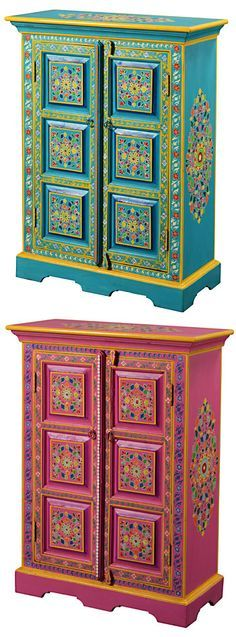 Handpainted indian cupboard.  My oldest  daughter would love this!