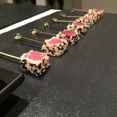 Sesame seared tuna canapes with wasabi and soy dip