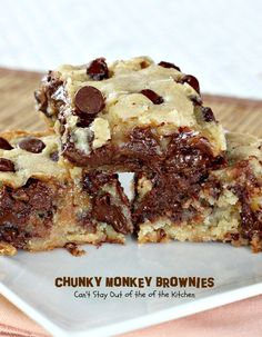 Chunky Monkey Brownies | Can't Stay Out of the Kitchen | these ooey, gooey #brownies are filled with #chocolate baking melts, #chocolatechips and #bananas. They are beyond amazing. #dessert #cookie