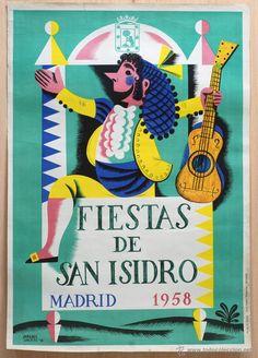 Cartel Fiestas de San Isidro Madrid 1958 Paredes Jardiel - Foto 1
