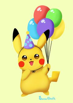 Create Birthday Card, Special Birthday Cards, Birthday Card Template, Birthday Wishes, Happy Birthday Pokemon, Birthday Pikachu, Happy Birthday Kids, Pokemon Balloons, Pokemon Party