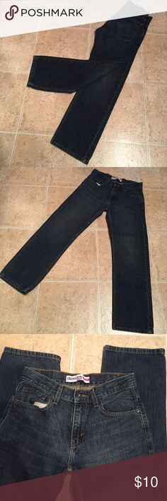 Levi's Denizen 281 straight fit 14 reg Levi's Denizen 281 straight fit size 14. Has adjustable button on inside for waist. In excellent used condition with no fraying, marks ect. Dark wash denizen by Levis Jeans Straight Leg