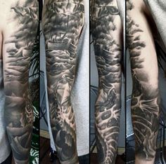 Awesome Black Ink Shaded Full Sleeve Guys Ocean Themed Tattoo With Sailing Ship And Sea Monsters