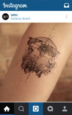 Really awesome sketch style globe tattooo. Black and white travel tattoo. #kilroy #travel #tattoo