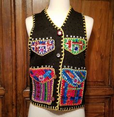 50421613186 Vintage Michael Simon Ugly Holiday XMAS Beaded Sweater Vest Black sz Small  1995  MichaelSimon