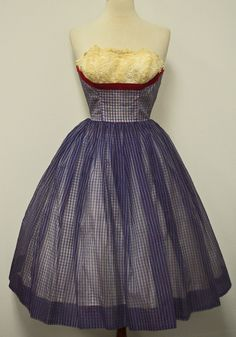 1950's Strapless Lace Shelf Bust Plaid Full Skirt Plaid Chiffon Dress
