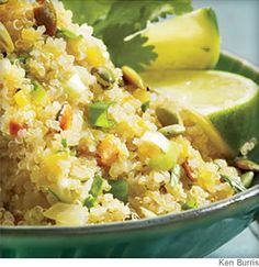 Cilantro, lime and scallions lend a bright finish to delicate quinoa. This versatile side pairs well with seafood, poultry or pork.