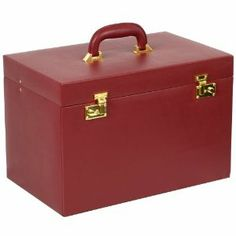 "Wolf Designs 280804 Heritage Extra Large Red Heirloom Trunk Jewelry-Box Wolf Designs. $299.50. Dimensions: 16.25""W x 10.25""D x 10.75""H. Smooth red faux leather exterior. Six divided drawers and a removable travel case. Mirror with key lock closure. Tan plush interior"
