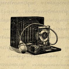 Printable Digital Antique Camera Download Illustration Graphic Image Vintage Clip Art. High resolution digital illustration. This printable digital graphic works well for printing, fabric transfers, tea towels, t-shirts, papercrafts, and much more. This graphic is high quality and high resolution at size 8½ x 11 inches. Transparent background version included with every digital image.