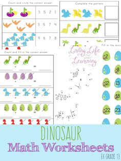 Have fun learning math with these fun dinosaur kindergarten math worksheets, who said math had to be boring? Perfect for dinosaur lovers.