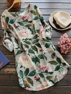 Floral Long Sleeve Linen Blouse Dress - FLORAL ONE SIZE Mobile