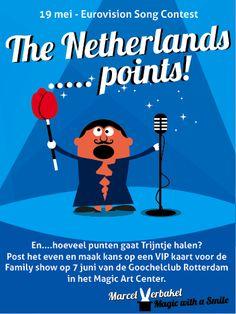 Aan mijn Faceboek vrienden de vraag hoeveel punten Trijntje gaat halen bij het Eurovisie Songfestival. Veel inzenders maar helaas weinig punten!