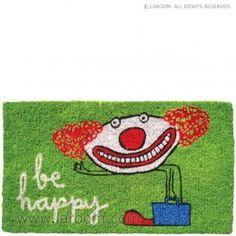 """Laroom - Felpudo verde """"be happy"""" - Laroom diseña y fabrica los Felpudos más bonitos del mundo - www.laroom.com (ilustrado por anna llenas)"""