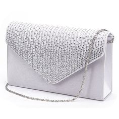 Jubileens Ladies Large Evening Satin Bridal Diamante Ladies Clutch Bag... (47 QAR) ❤ liked on Polyvore featuring bags, handbags, clutches, prom clutches, silver evening clutches, evening clutches, hand bags and evening handbags