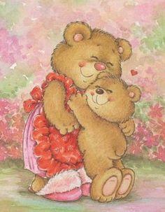 Bear hugs for Mommy! Teddy Bear Cartoon, Cute Teddy Bears, Teddy Bear Design, Bear Graphic, Dachshund Art, Card Sentiments, Bear Art, Animal Cards, Love Symbols