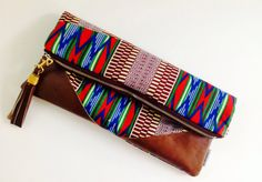 Tribal Clutch Bag, African Print Clutch Bag, Tribal Handbag, Cosmetic Bag, Bridesmaid Gift by 2chicdesigns on Etsy