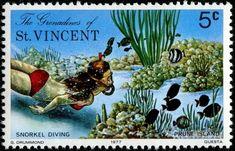 snorkel diving,stamp