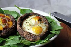 Egg Stuffed Skinny Portabello Caps - perfect for breakfast, lunch, brunch, Lent Dishes or Meatless Monday!