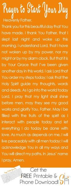 Prayer to Start Your Day | http://Socialhermit.me Talking to God first thing in the morning is a great way to set the tone for the day and ask the Holy Spirit to walk with you all day long. Faith Prayer, God Prayer, Power Of Prayer, Prayer Quotes, Prayer Scriptures, Bible Prayers, Bible Verses, Prayer Room, Prayer Board
