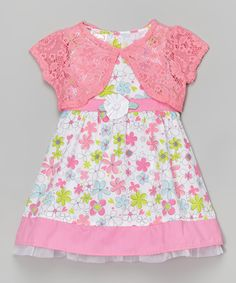 Sugah & Honey Pink & White Floral Dress & Lace Shrug - Infant, Toddler & Girls by Sugah & Honey #zulily #zulilyfinds