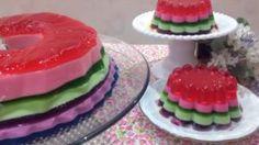 Gelatina Colorida Em Camadas Fácil - Receita Perfeita! Tutti Frutti, Chocolate, Watermelon, Fruit, Delicious Recipes, Yummy Recipes, Sweet Recipes, Party Desserts, Sweet Cakes