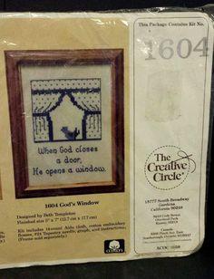 Vintage The Creative Circle Embroidery Needlework Kit GOD'S WINDOW 1604 5 X 7 #TheCreativeCircle #Sampler