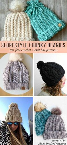 "Feeling inspired by the beanies the athletes at the winter Olympics have been wearing? Let this collection of FREE knit and crochet chunky hat patterns lead you to your next ""slope style"" project!"