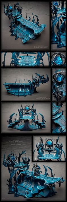 Dark Eldar Prison camp - I like the use of the gem in the piece. I think that might be a great way to create a waystone or other Elf relic