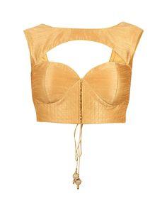 Golden Sleeveless Saree Blouse