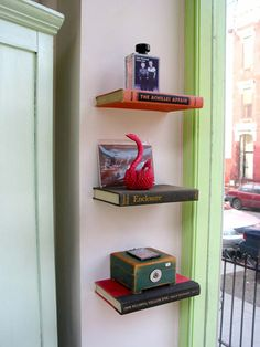 Actual bookshelves.  Cool idea to use with books since it seems like everything is going electronic!